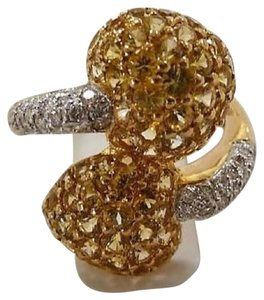 Jewelry suite Diamond Yellow Saphire Heart Statement Ring 18K Solid Gold size 6