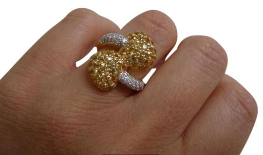 Jewelry suite Diamond Yellow Saphire Heart Statement Ring 18K Solid Gold size 6 Image 1