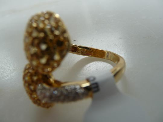 Jewelry suite Diamond Yellow Saphire Heart Statement Ring 18K Solid Gold size 6 Image 11
