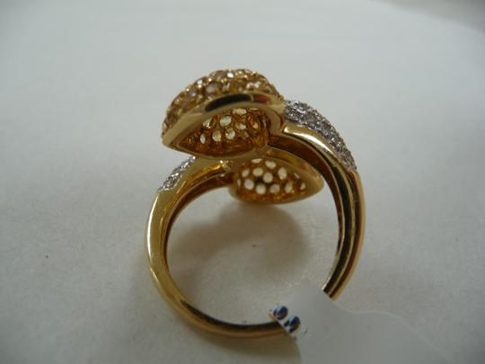 Jewelry suite Diamond Yellow Saphire Heart Statement Ring 18K Solid Gold size 6 Image 2