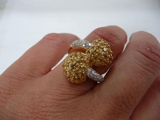 Jewelry suite Diamond Yellow Saphire Heart Statement Ring 18K Solid Gold size 6 Image 3