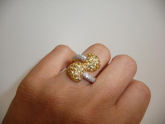 Jewelry suite Diamond Yellow Saphire Heart Statement Ring 18K Solid Gold size 6 Image 4