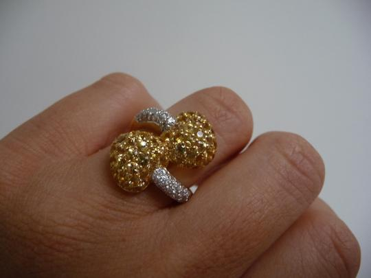 Jewelry suite Diamond Yellow Saphire Heart Statement Ring 18K Solid Gold size 6 Image 5