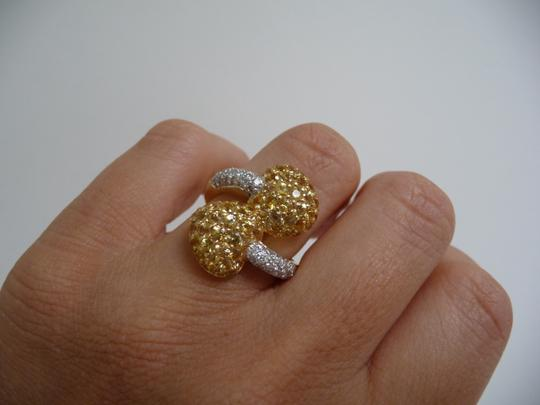 Jewelry suite Diamond Yellow Saphire Heart Statement Ring 18K Solid Gold size 6 Image 6