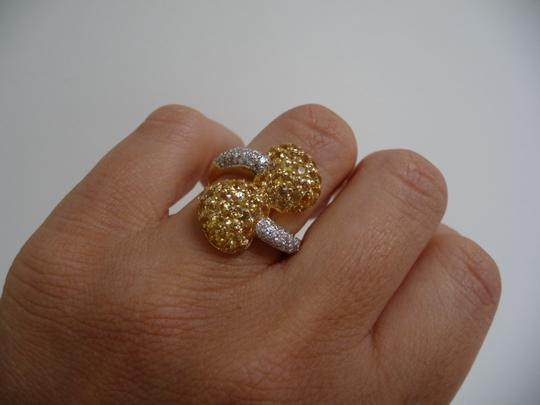 Jewelry suite Diamond Yellow Saphire Heart Statement Ring 18K Solid Gold size 6 Image 7