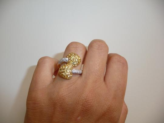 Jewelry suite Diamond Yellow Saphire Heart Statement Ring 18K Solid Gold size 6 Image 8