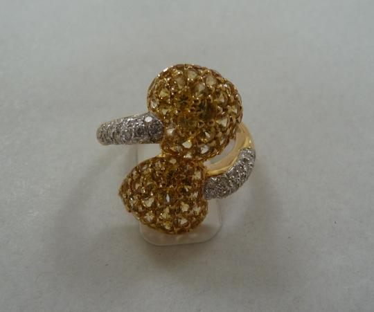 Jewelry suite Diamond Yellow Saphire Heart Statement Ring 18K Solid Gold size 6 Image 9