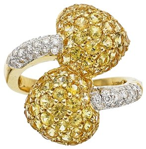 Diamond Yellow Saphire Heart Statement Ring 18K Solid Gold size 6