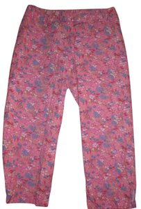 Liz Claiborne Capris pink w/ multi colored flower pattern