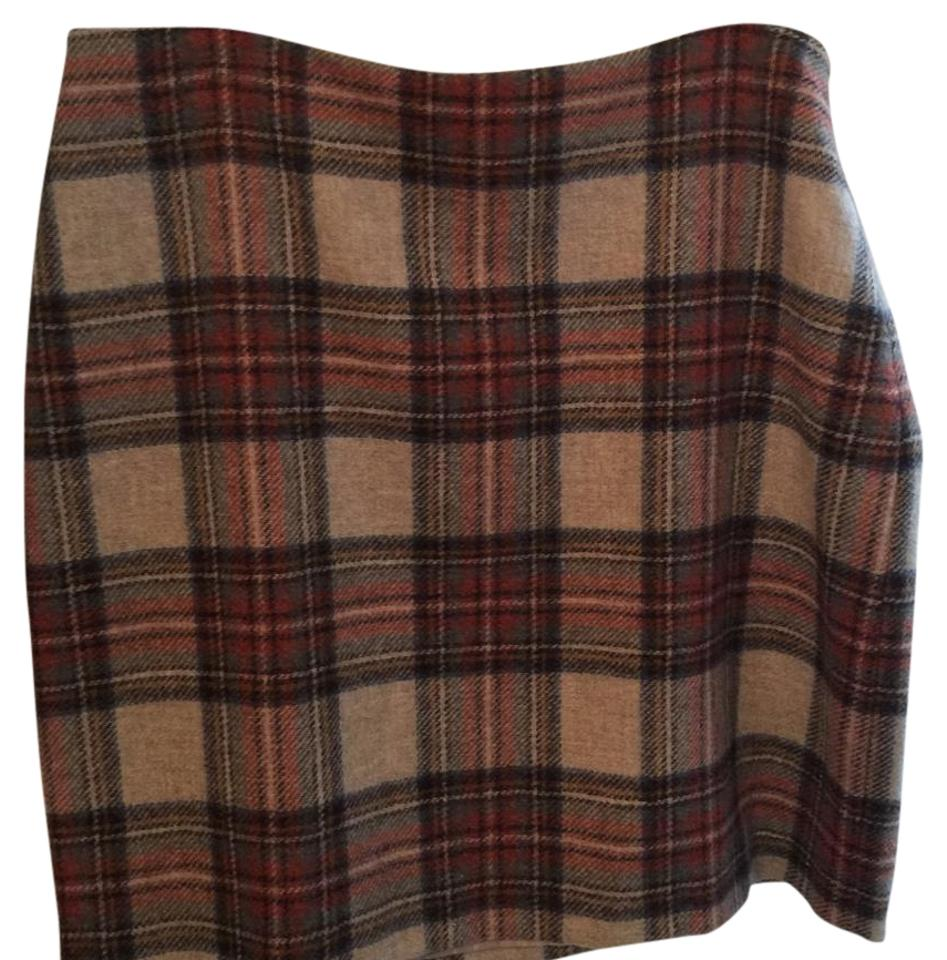 d71969ac57cb Boden Red and Tan Brittish Tweed Skirt Size 14 (L, 34) - Tradesy