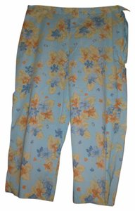 Jones New York Capris aqua w/ blue and orange flowers