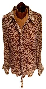 BCBG Max Azria Button Down Shirt Leopard