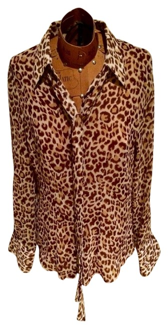 BCBGMAXAZRIA Button Down Shirt Leopard