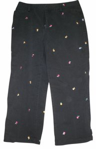 Rafaella Capris black w/ multi colored embroidered flowers