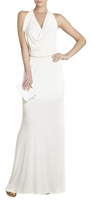 Item - White Bcbg Jasmina Draped-front Open-back Gown S Lmr6l564 Long Night Out Dress Size 4 (S)