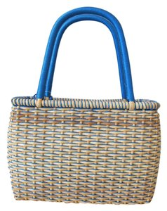 The Sak Straw Wicker Rattan Picnic Tote in Cream/Blue