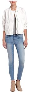 Free People Distressed Denim White Womens Jean Jacket