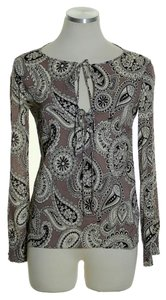 Theory Silk Blend Long Sleeve Keyhole Pp Top Brown Multi