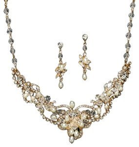 Mariell Vory Freshwater Pearl & Crystal Gold Wedding Necklace And Earrings Set 4061s-i-g