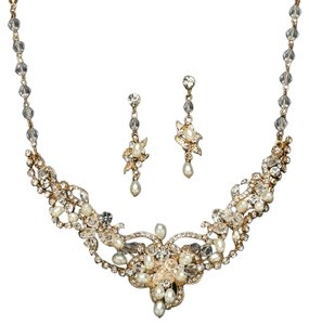 Mariell Ivory/Gold Freshwater Pearl Crystal Necklace and Earrings 4061s-i-g Jewelry Set