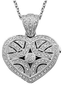 Macy's Sparkling Diamonds Sterling Silver Heart Pendant Locket