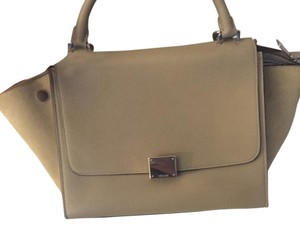 Céline Trapeze Suede Leather Tote in Taupe