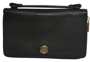 Tory Burch ROBINSON TRAVEL WALLET PEBBLED LEATHER DOUBLE ZIP PHONE HOLDER CLUTCH