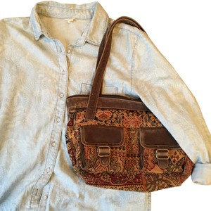 Fossil Embroidered Vintage Suede Shoulder Bag