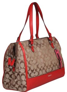 Coach Satchel in Khaki Red