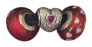 PANDORA Pandora Heart Love Murano Charm Set Of 2