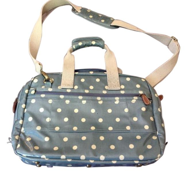 Item - Grey and Cream Pvc Coated Cotton with Leather Trim Canvas Straps Laptop Bag