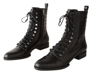 Alexander Wang Leather Silver Hardware Ankle Black Boots