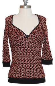 Miss Sixty Crochet Night Out Top Black White Red