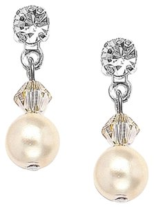 Mariell Classic Pearl & Crystal Drop Bridal Or Bridesmaids Earrings - White - Pierced 234e-ho-s