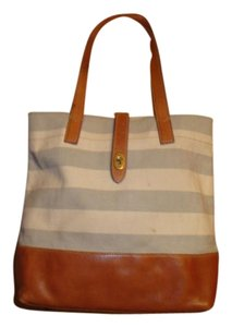 Fossil Leather Tote in gray/natural canvas
