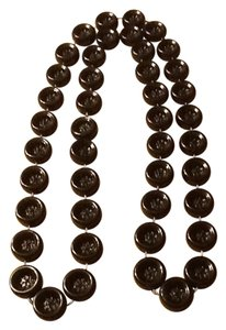 Black Shiny Button Necklace