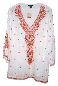 Boston Proper Heavily Beaded Lavishly Embroidered Tunic