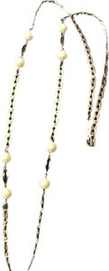 Gold Tone black Bead And Pearl Like Necklace