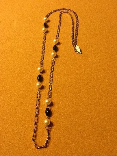 Other Gold Tone black Bead And Pearl Like Necklace