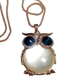 Owl Pendant Necklace Large Long Blue Gold Tone Cat's Eye Belly J2518