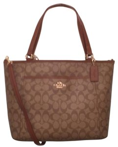 Coach New (nwt) Signature/logo Cross Body Weekend/travel Tote in Brown, Tan