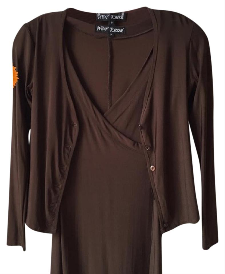c4e12b452d Betsey Johnson Brown Matching Sweater Set Short Work Office Dress ...