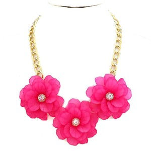 Other Chunky Fuchsia Pink Triple Flower Collar Statement Necklace