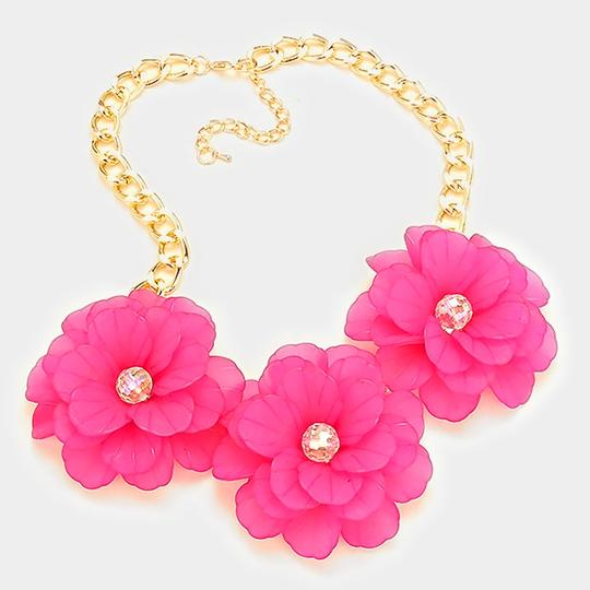 Other Chunky Fuchsia Pink Triple Flower Collar Statement Necklace Image 1