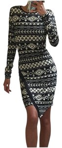 Planet Gold Date Sexy Aztec Asymmetrical Dress