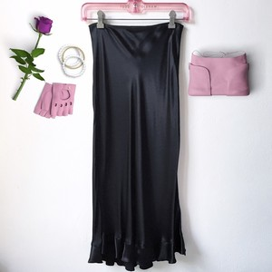 Betsey Johnson Satin Vintage Ruffle Satin Maxi Skirt Black