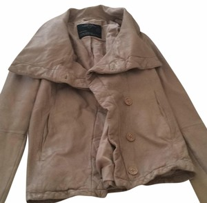 AllSaints Taupe Leather Jacket