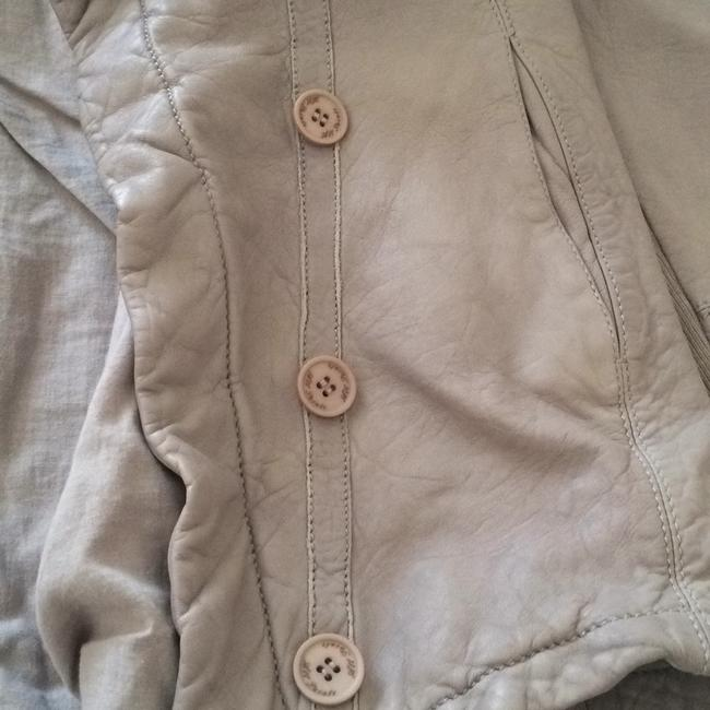 AllSaints Taupe Leather Jacket Image 3