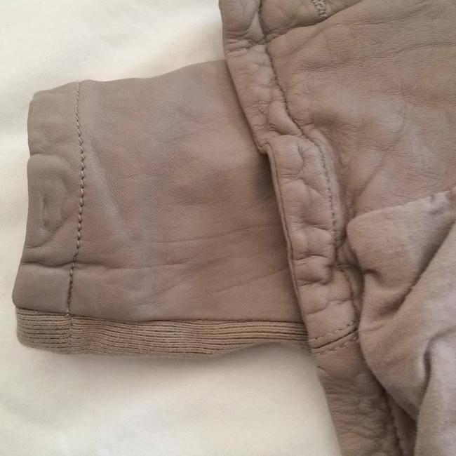 AllSaints Taupe Leather Jacket Image 4