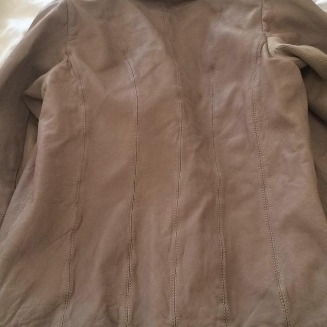 AllSaints Taupe Leather Jacket Image 5